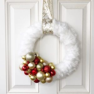 Other - Faux Fur and Christmas Ornamemt Wreath Red Gold